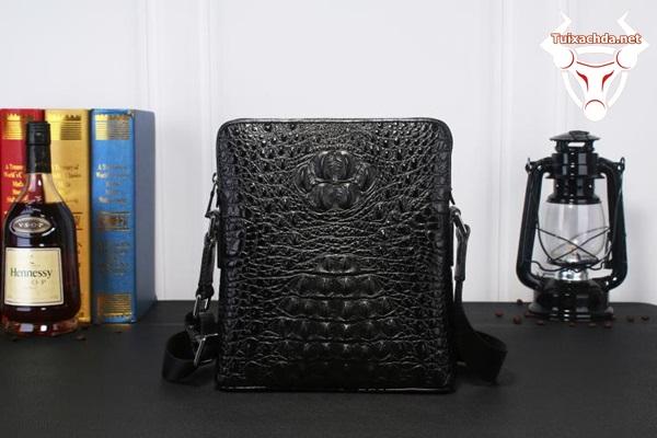 túi đeo chéo da cá sấu giả vân cao cấp màu đen